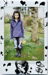 pia (golfpunkgirl) Tags: tree girl garden polaroid pretty fujifilm pia wellies easteregghunt cheki instaxmini yonexchekifilm shesalmostastallasmeandshesonly12