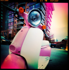 analog ideas with discrete tools (Hejl) Tags: street pink urban canada vancouver photoshop holga lomo colorful flickr downtown bc scooter fakelomo fakeholga colortreatment hejl filmtreatment