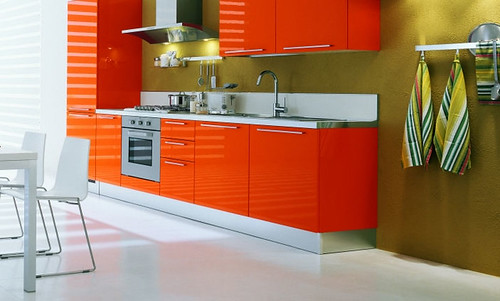 modern red kitchen home interior design ideas