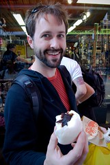 Lauch Eating Vegetable Bun, Chinatown