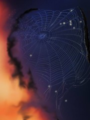 Webmaker (lindyginn) Tags: ipad finger painting art photo dark light starlight beauty spider webs ginn purple sky orange night ethereal surreal watercolor dream