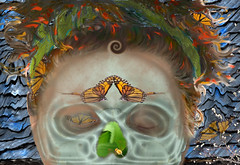 Mask of the death and renaissance (Only time heals wounds) Tags: blue red orange green art photoshop butterfly insect death mort destruction bleu papillon surrealist shiva drama mythology renaissance naissance symbolic insecte symbole spirale crâne création surréaliste