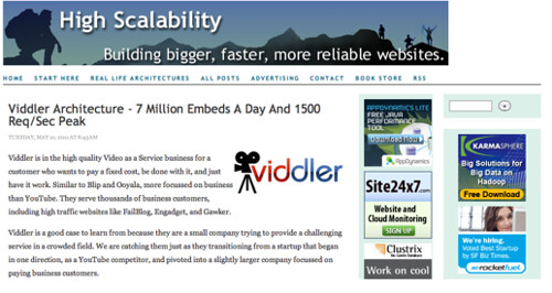 High Scalability Mention Viddler