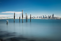 The tilt-shift, low-tide blues. (Jeff Engelhardt) Tags: seattle longexposure blue pilings tiltshift