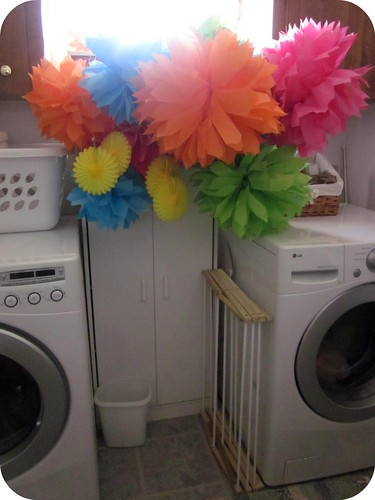 Pompoms in Laundry Room
