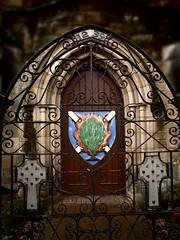 Dornoch Cathedral Gate (Jan Egil Kristiansen) Tags: scotland gate wroughtiron standrewscross shield sutherland burningbush celticcross dornoch saltire churchofscotland 1239 dornochcathedral p7040122 drnach