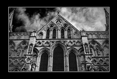 Salisbury Cathedral (johnnywiggla) Tags: blackandwhite bw architecture canon cathedral gothic medieval salisbury wiltshire floam boyant 400d aplusphoto finefind flickrtate