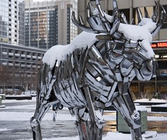 Cold Moose (tokyololas) Tags: sculpture snow chicago metal moose chrome publicart johnkearney canon40d thechallengegame challengegamewinner challengegame