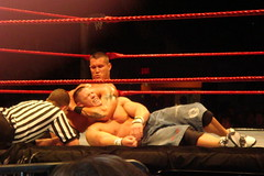 "Randy Orton taking down the ""WWE Champion"" John Cena"