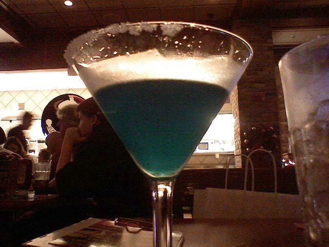 Smurf-colored martini
