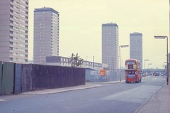 Westferry Road, Millwall, at Express Wharf, 1973 (JB photographer) Tags: city bus london tower thames 35mm river estate docklands block routemaster re 1973 eastlondon 1000views millwall isleofdogs topcon barkantine copyrightjonathanbarkerphotographer