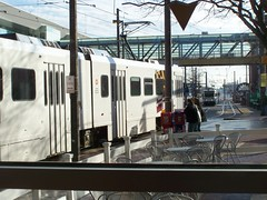 Baltimore Light rail through the windows of California Tortilla