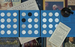 Two left (scampion) Tags: franklin coins books benjaminfranklin almanac 50cents numismatics poorrichard poorrichardsalmanac halfdollars