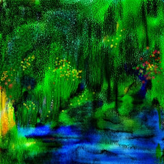 Landscape of my Dream (Shubnum Gill) Tags: blue woman india color green water digital forest painting landscape living backyard delhi indian study jungle painter planet tropical fractal form gaia gill newdelhi tagore hindustani rabindranath 25faves shubnum ysplix thatsclassy shubnumgill wwwshubnumgillcom
