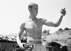 (Cuito Cuanavale) Tags: blackandwhite bw sunlight man muscles countryside war europe gun fighter hero angry strong worker albania waving macho heroic constructionworker kalashnikov leniriefenstahl assaultrifle shqipria type56