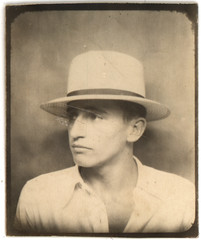 Vintage Photobooth: Grandfather Glenn (deflam) Tags: 1920s arizona man hat vintage photo 1930s photobooth glenn grandfather picture posing teen teenager gilmer