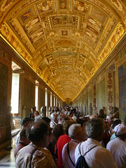 Walk The Line (__Serendipity) Tags: people vatican rome art gold catholic chapel tourists line goldenceiling sixteenthchapel