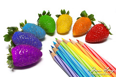 Rainbow Strawberry,  (Mau Horng) Tags: food white color macro art leave fruit pen pencil pencils sketch rainbow strawberry colorful graphic many unique object arts draw sour diamondclassphotographer