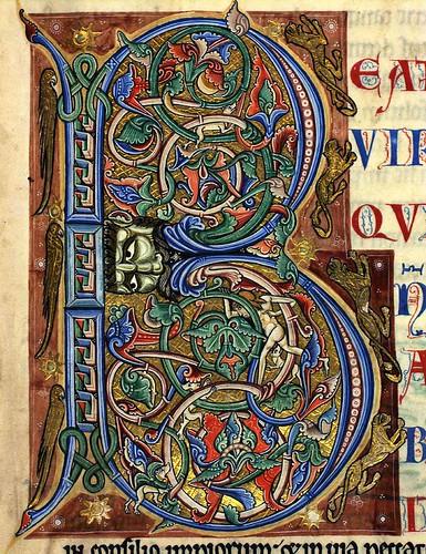 17 recto- Inicial ornamentada del salmo primero