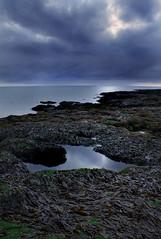 Alone (BarneyF) Tags: blue sky seascape seaweed reflection rock landscape dusk westkirby merseyside hilbreisland deeestuary