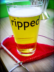 Half of the Ravelry frogged/ripped pint glasses