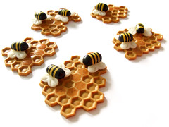 Beehive (Eskimimi) Tags: insect pin bees brooch jewelry jewellery bee bumblebee fimo honey clay bumblebees honeycomb hive comb broach polymer combe