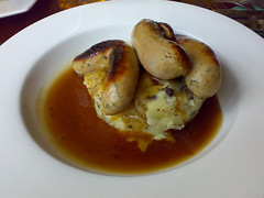 Crombies pork and leak sausages on a bed of black pudding mash  at The Orchard Bar, Canonmills, Edinburgh