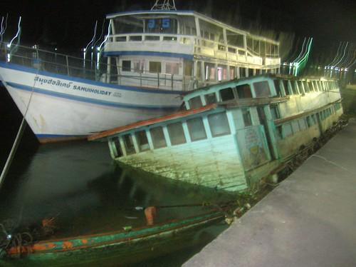 Thailand Sunken Boat Dock by Danalynn C