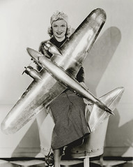 lucille ball, with airplane