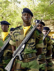 Senegalese Soldier (Mondmann) Tags: africa man soldier army uniform african military rifle westafrica senegal armedforces thies sonydscp10 afriquedelouest senegalese