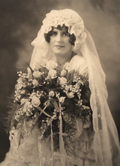 vintage wedding portrait, unknown lady (deflam) Tags: flowers wedding portrait woman lady vintage dress marriage gown familyphotos unidentified lilyofthevalley