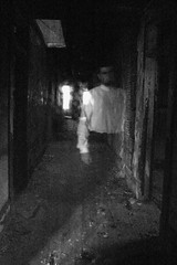 The Man in White (Christopher Wallace) Tags: ghost ghostly apparition presence spirit haunt haunting haunted creepy spooky weird eerie supernatural me myself self selfportrait soul trick afterlife transubstantial transparent energy fire damage burn husk shell building empty old studiosonthesquaregalleries nikon 14mm wideangle superwideangle ultrawideangle d70s decayed blackandwhite monochrome