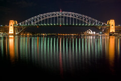 Sydney Harbour Bridge and Opera House from Blues Point (Craig Jewell Photography) Tags: bridge light house reflection water boats lights iso100 boat opera harbour sydney australia pylon summit f80 operahouse glassy pentaxk10d 200sec cpjsm craigjewellphotography