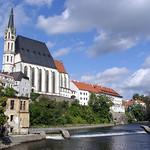 Cesky Krumlov: St. Jošt Church and Vltava River