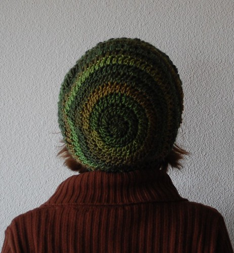 Back of slouchy green hat