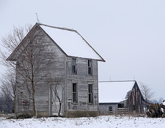 Winter Wellhouse (and Barn) (cindy47452) Tags: roof winter snow abandoned barn empty indiana decayed wellhouse lawrencecounty thingstimeforgot