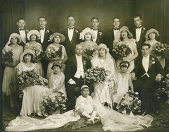 Italian Family Wedding 1927 1928 20s NYC (Whiskeygonebad) Tags: family wedding party white black men hat sepia pose studio groom bride italian women dress group formal bowtie professional tuxedo 1928 function tuxedos 20s 1927 roaringtwenties sicilian bershon wediinggowns