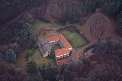A monastery in the forest near Como (_ Night Flier _) Tags: above travel sky italy panorama como tree church nature forest airplane landscape flying high view earth top aviation aerial fromabove monastery brianza lombardia cessna skyview lombardy birdeye aeronautic anawesomeshot diamondclassphotographer flickrdiamond