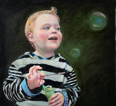 """Bubbles"" (Portrait of Noah) by M.Beek 2008"