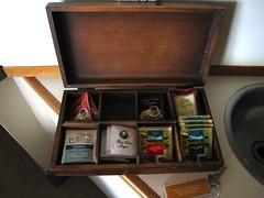 box of tea, coffee and drinking chocolate