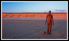 Iron Man and dog (gobayode photography...times) Tags: sunset sea copyright dog sun seascape art beach nature animal liverpool ironman 2008 railings digitalphotography nudemale metalart nudeman nakedman nakedmale crosbybeach digitalcameraclub liverpool08 aplusphoto gobayode canonimages gobayodephotography peachofashot crosbyliverpool alangormley
