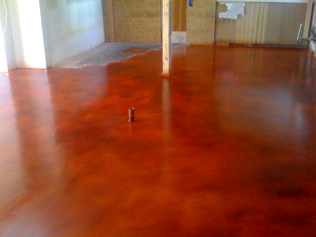 Acid Stain Flooring - Red TerraCotta Kitchen 4