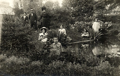 In the garden in Nantes in 1908 (lovedaylemon) Tags: dog france vintage found image nantes 1908