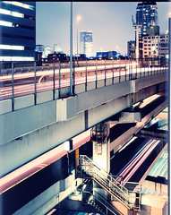 tokyo elevated expressways 1 (Thomas Birke) Tags: road city urban berlin skyline night tokyo highway traffic dusk thomas 8x10 velvia expressway elevated p2 birke tokio sinar flickrsbest