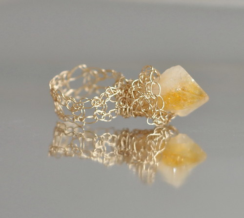 Ring - crocheted lace 14 kt gold filled with genuine citrine crystal nugget