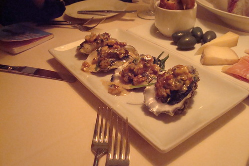Nic's Oysters, Sautéed with Walnuts and Garlic