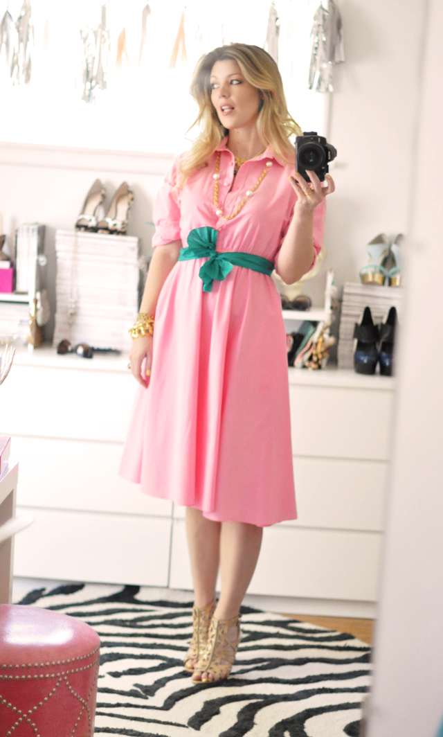 watermelon pink dress in my office