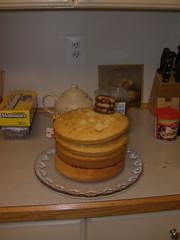 Dalek cake - Beginning cake stack