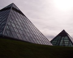 The Great Pyramids of Edmonton (Daveography.ca) Tags: sky sun canada glass grass clouds edmonton pyramid cloudy hill alberta muttart sooc muttartconsevatory