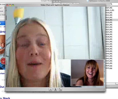 video chatting with my sister. she just got a hair cut. she's a natural blond blond